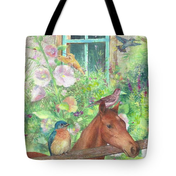 Illustrated Horse And Birds In Garden Tote Bag