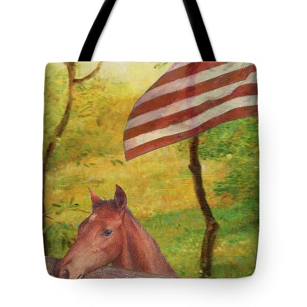 Illustrated Horse In Golden Meadow Tote Bag