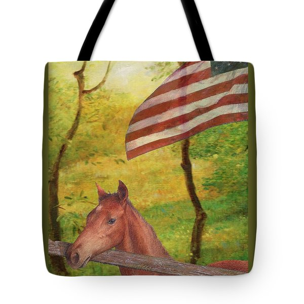 Tote Bag featuring the painting Illustrated Horse In Golden Meadow by Judith Cheng