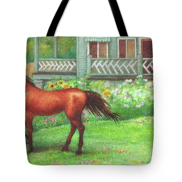 Illustrated Horse Summer Garden Tote Bag
