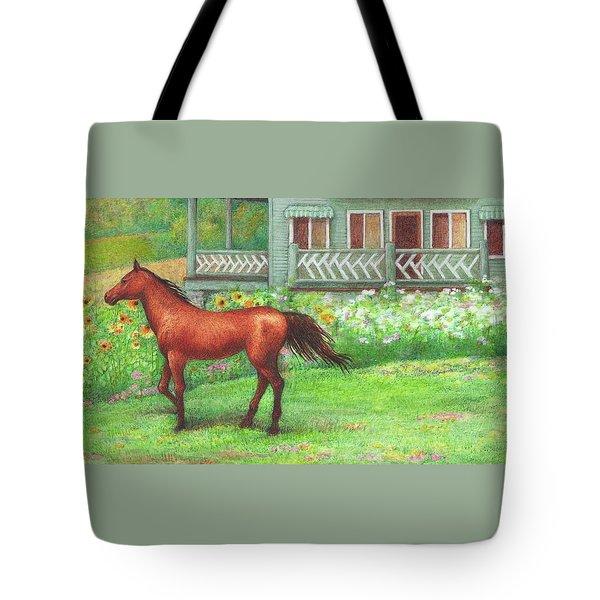 Illustrated Horse Summer Garden Tote Bag