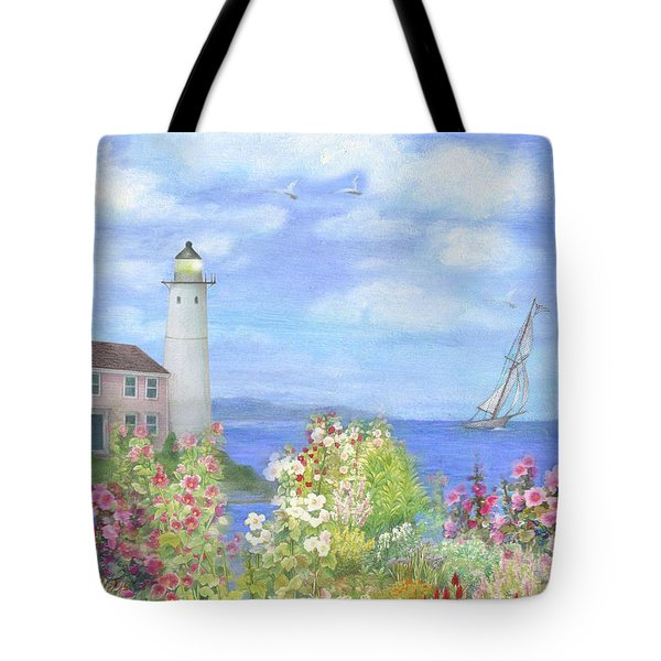 Illustrated Lighthouse By Summer Garden Tote Bag