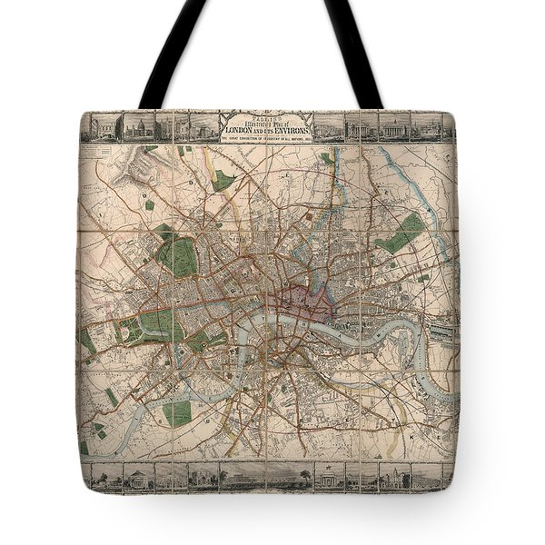 Illustrated Plan Of London And Its Environs - Map Of London - Historic Map - Antique Map Of London Tote Bag