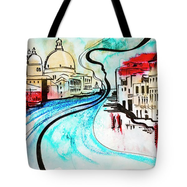 illustration of travel, Venice Tote Bag