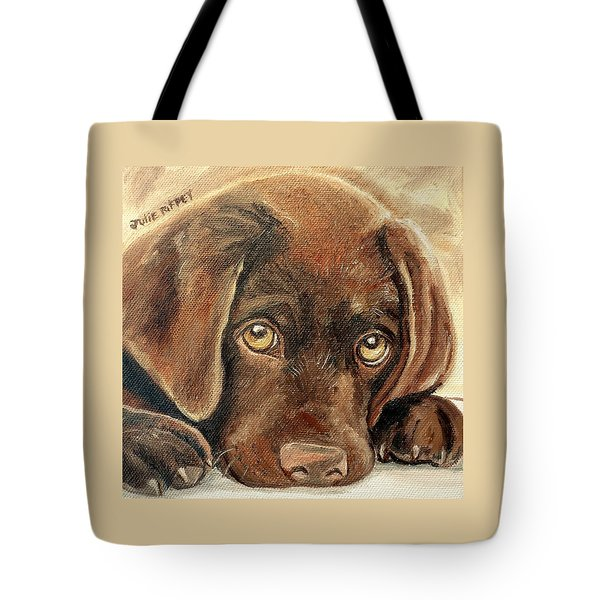 I'm Sorry - Chocolate Lab Puppy Tote Bag by Julie Brugh Riffey