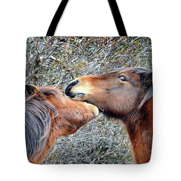 Tote Bag featuring the photograph I'm The Boss Says Patricia Irene To April Star by Assateague Pony Photography