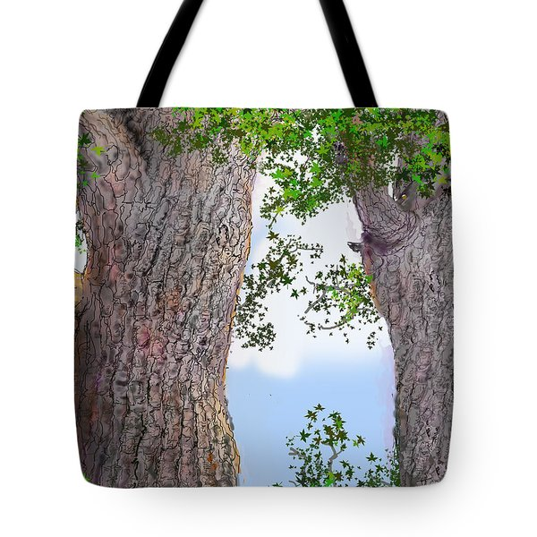 Tote Bag featuring the drawing Imaginary Trees by Jim Hubbard
