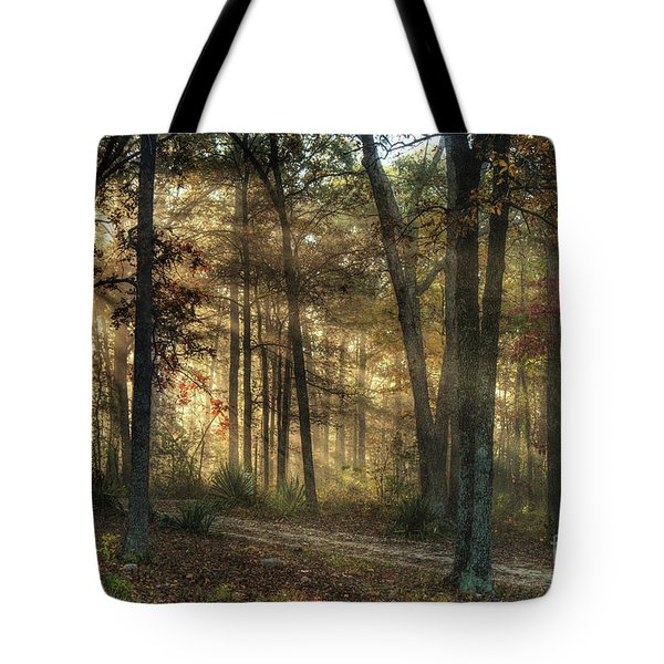 Tote Bag featuring the digital art Imagine A Mystical Light In The Forest by William Fields