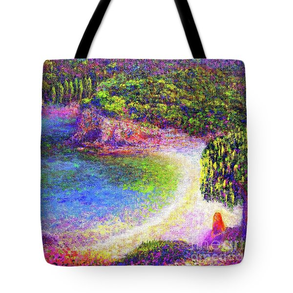 Tote Bag featuring the painting Imagine, Meditating In Beautiful Bay,seascape by Jane Small