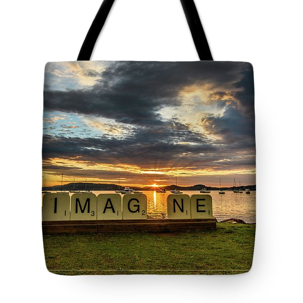 Imagine Sunrise Waterscape Over The Bay Tote Bag