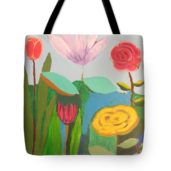 Tote Bag featuring the painting Imagined Flowers One by Rod Ismay