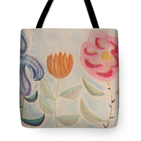 Tote Bag featuring the painting Imagined Flowers Two by Rod Ismay