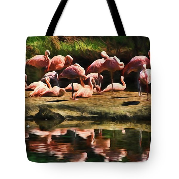 Pink Flamingo Color Tote Bag