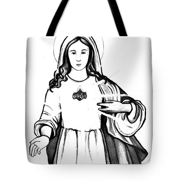 Tote Bag featuring the drawing Immaculate Heart Of Mary by Mary Ellen Frazee