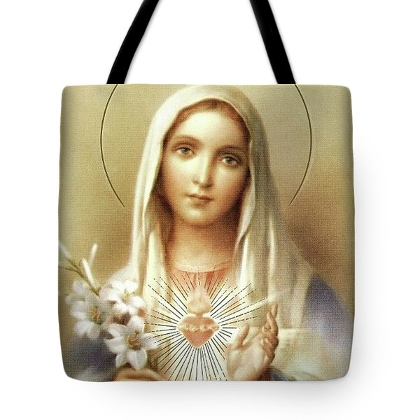 Tote Bag featuring the mixed media Immaculate Heart Of Mary by Movie Poster Prints