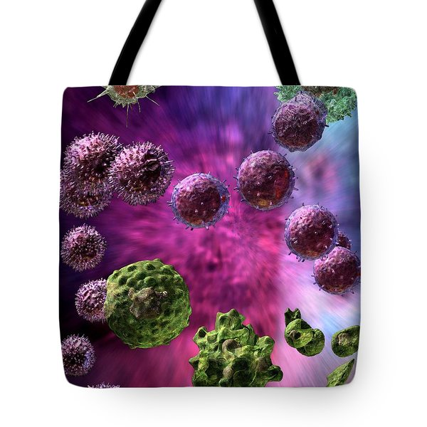 Tote Bag featuring the digital art Immune Response Cytotoxic 4 by Russell Kightley