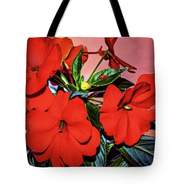 Impatience With Ladybug Tote Bag by Diane Schuster