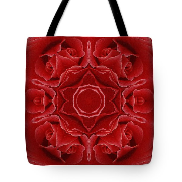 Tote Bag featuring the mixed media Imperial Red Rose Mandala by Isabella Howard
