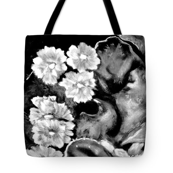 Tote Bag featuring the photograph Impression Of Cactus Flower In Black And White by Antonia Citrino