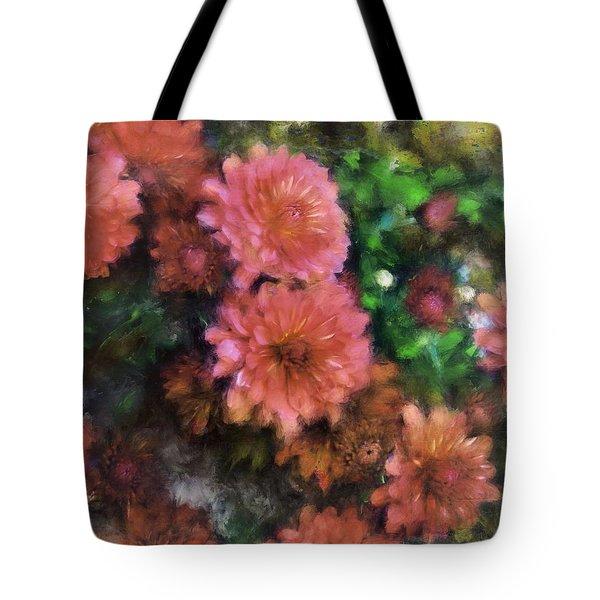 Bronze And Pink Mums Tote Bag