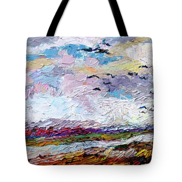 Impressionist Autumn Panoramic Landscape Bird Migration Tote Bag