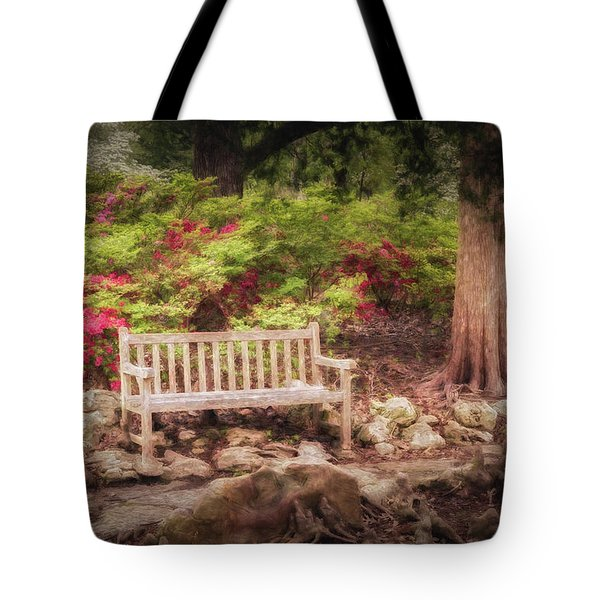 Tote Bag featuring the photograph Impressionist Bench by James Barber
