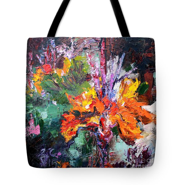 Impressionist Canna Flower Oil Painting  Tote Bag