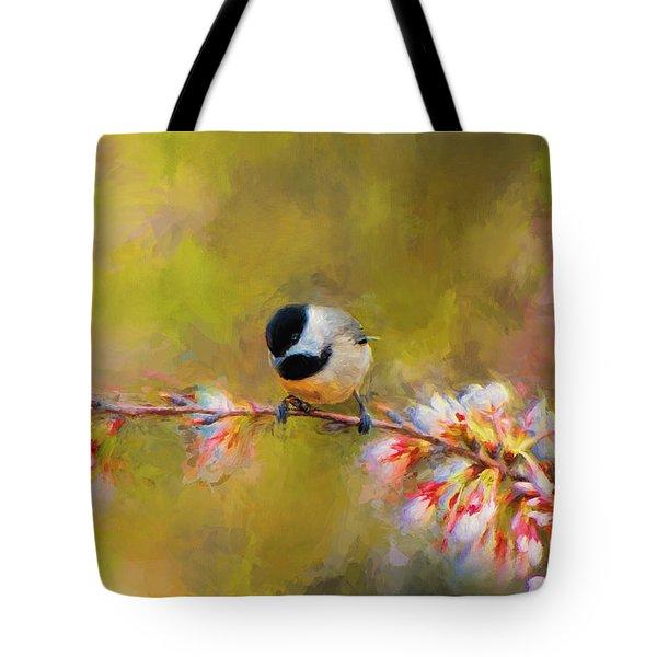 Impressionist Chickadee Tote Bag by Jai Johnson