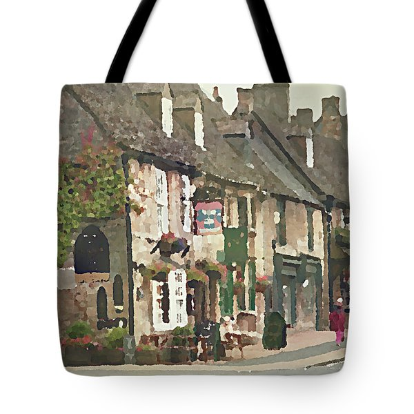 Tote Bag featuring the digital art Impressionist Corner Shops by Shelli Fitzpatrick