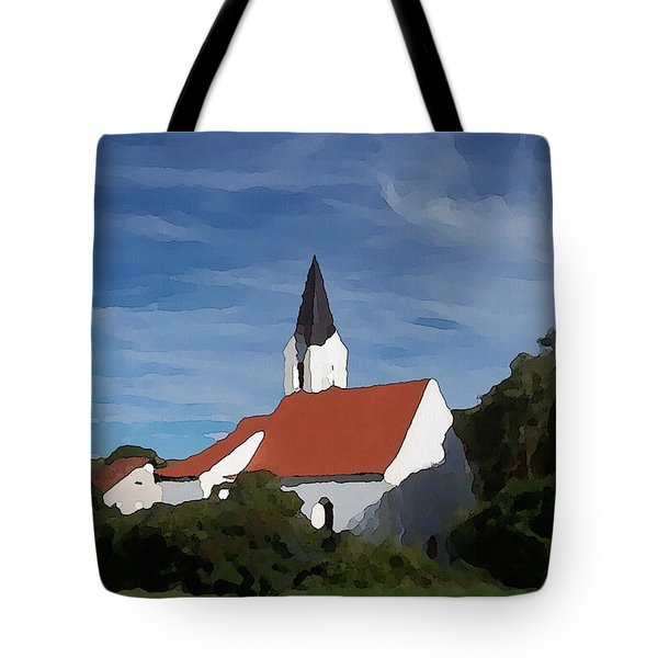 Tote Bag featuring the digital art Impressionist Country Church by Shelli Fitzpatrick
