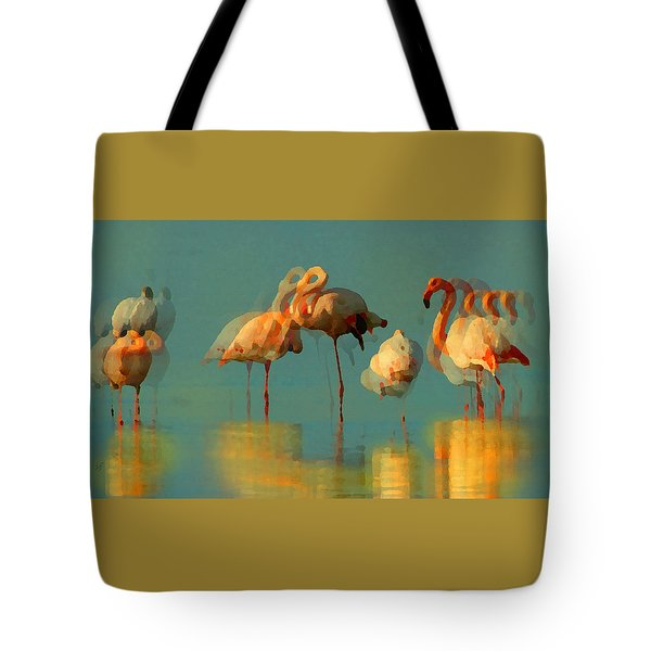 Tote Bag featuring the digital art Impressionist Flamingo Abstract by Shelli Fitzpatrick