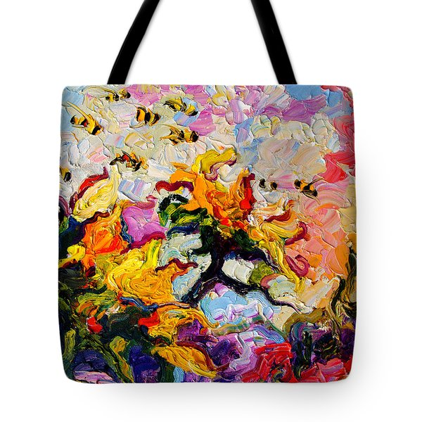 Impressionist Sunflowers And Bees Tote Bag by Ginette Callaway