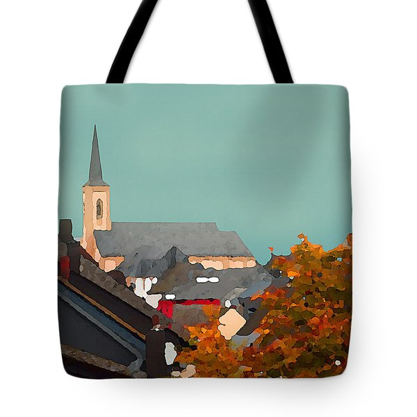 Tote Bag featuring the digital art Impressionist Village With Church Steeple by Shelli Fitzpatrick