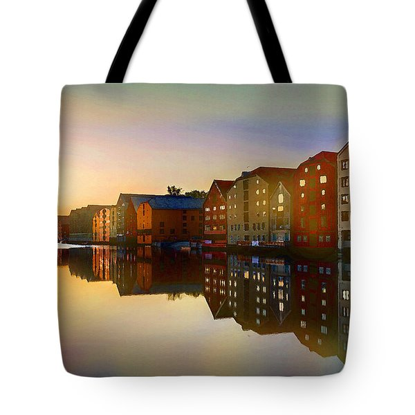 Tote Bag featuring the digital art Impressionist Waterfront View by Shelli Fitzpatrick