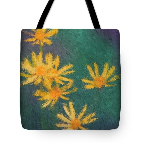 Tote Bag featuring the painting Impressionist Yellow Wildflowers by Smilin Eyes  Treasures