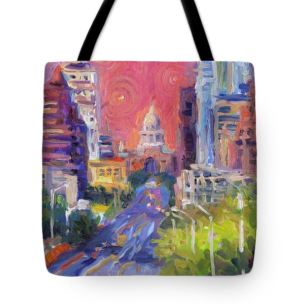 Impressionistic Downtown Austin City Painting Tote Bag