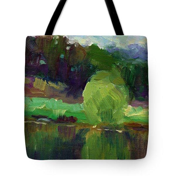Impressionistic Oil Landscape Lake Painting Tote Bag by Svetlana Novikova
