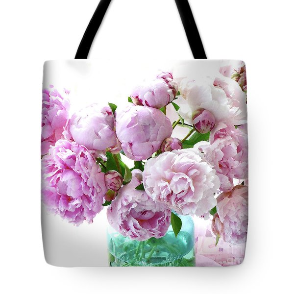Tote Bag featuring the photograph Impressionistic Romantic Pink Peonies Watercolor Romantic Floral Decor - Pink Peony Decor by Kathy Fornal