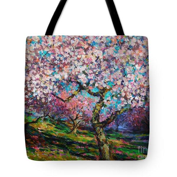 Impressionistic Spring Blossoms Trees Landscape Painting Svetlana Novikova Tote Bag by Svetlana Novikova