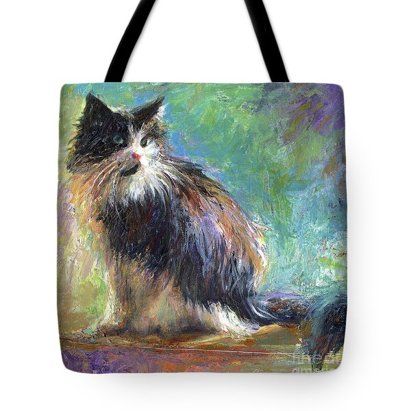 Impressionistic Tuxedo Cat Portrait Tote Bag by Svetlana Novikova