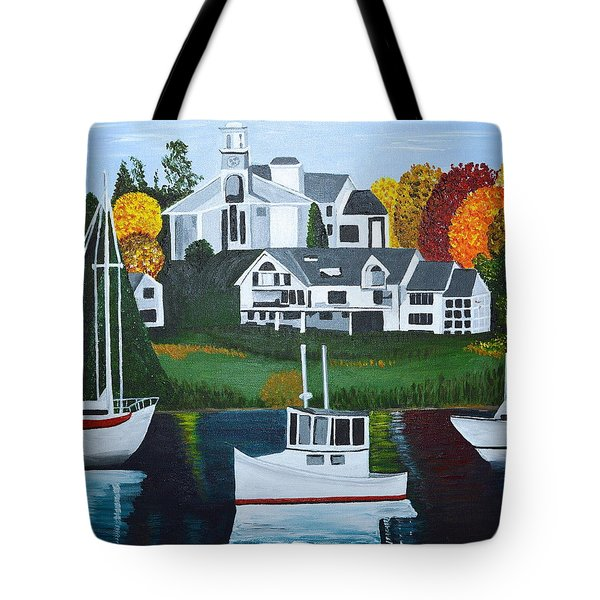 Tote Bag featuring the painting Impressions Of New England Two by Donna Blossom