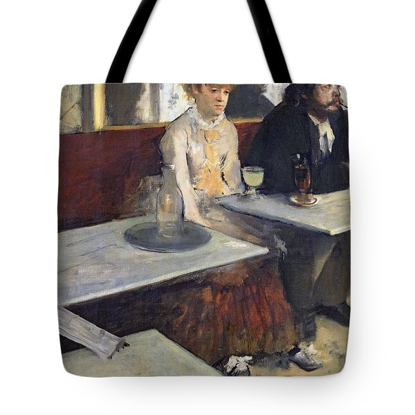 In A Cafe Tote Bag by Edgar Degas