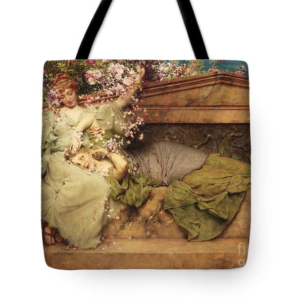In A Rose Garden Tote Bag by Sir Lawrence Alma-Tadema