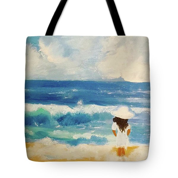 In Awe Of The Ocean Tote Bag by Angela Holmes