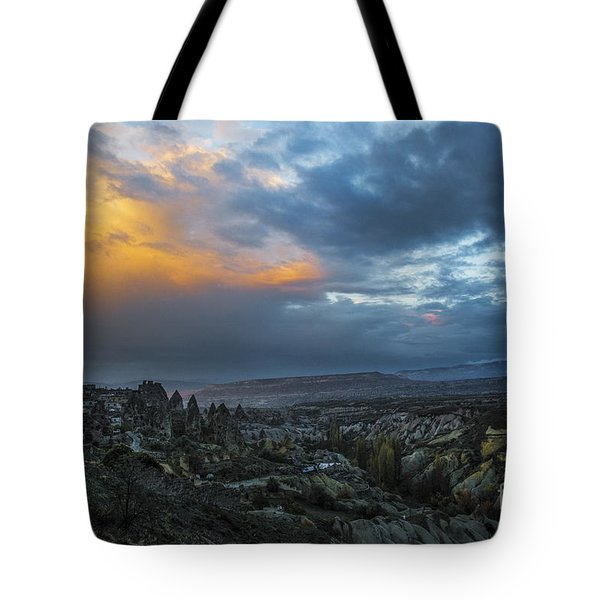 In Between Uchisar And Goreme Tote Bag by Yuri Santin