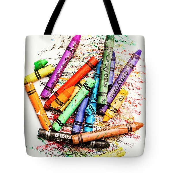 In Colours Of Broken Crayons Tote Bag
