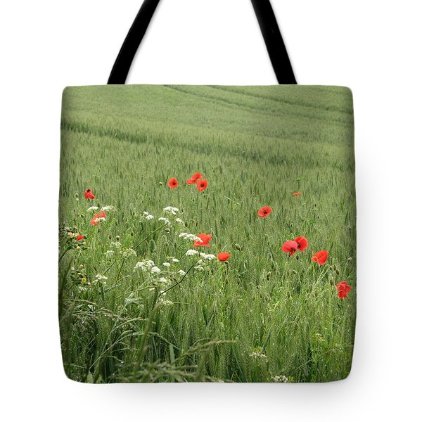 in Flanders Fields the  poppies blow Tote Bag