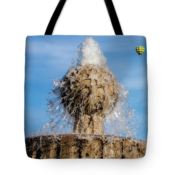 In Flight Over Flags Tote Bag