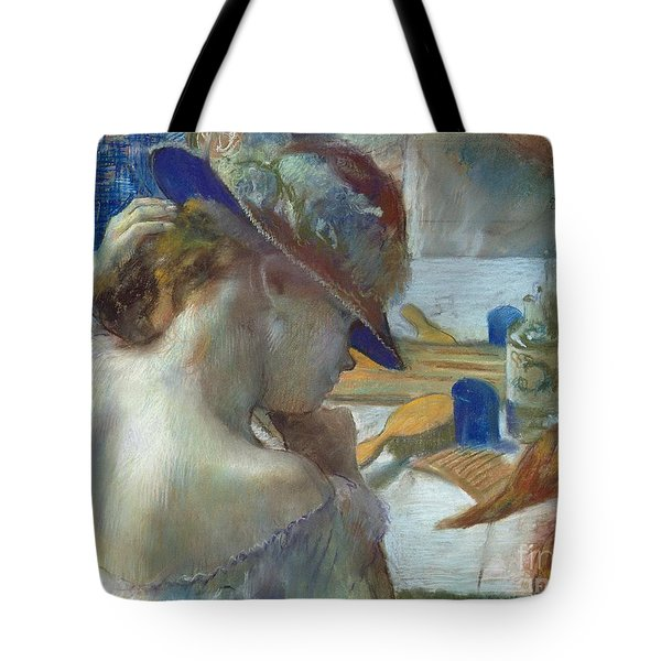 In Front Of The Mirror Tote Bag by Edgar Degas