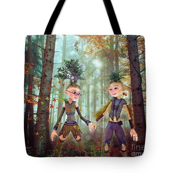 Tote Bag featuring the digital art In Harmony With Nature by Jutta Maria Pusl